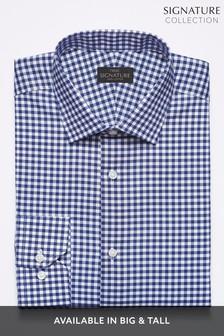 Navy Regular Fit Single Cuff  Signature Gingham Regular Fit Shirt