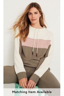 Khaki Green/Cream Stripe Lounge Sweatshirt