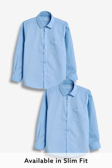 Blue 2 Pack Long Sleeve Shirts (3-17yrs)