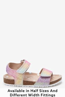 Rainbow Glitter Standard Fit (F) Sandals (Younger)