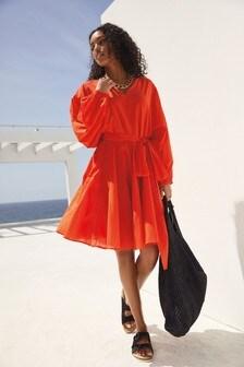Orange Volume Sleeve Dress