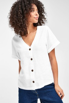 White Linen Blend Button Through Top