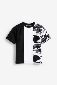 Monochrome Camouflage Colourblock Short Sleeve Jersey T-Shirt (3-16yrs)