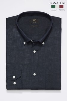 Navy Slim Fit Single Cuff Signature Nova Fides Linen Shirt