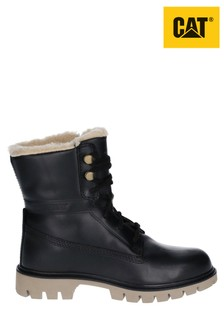 CAT® Lifestyle Black Basis Faux Fur Lace-Up Boots