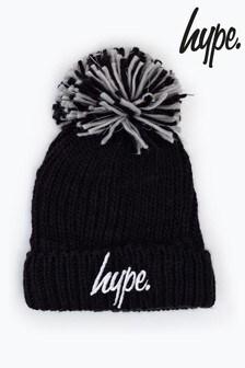 Hype. Black Knit Shimmer Bobble Beanie