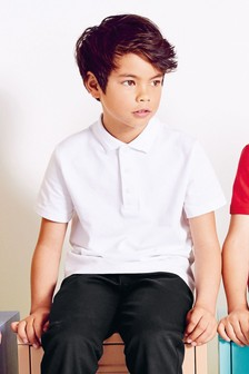 White 2 Pack Cotton Poloshirts (3-16yrs)