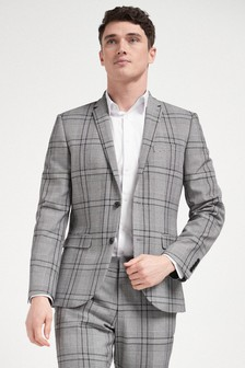 Grey Slim Fit Check Suit: Jacket
