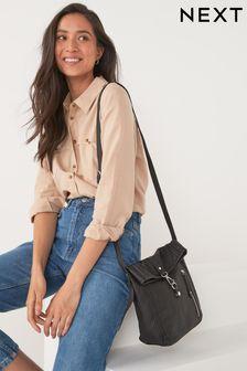 Black Utility Style Messenger Bag