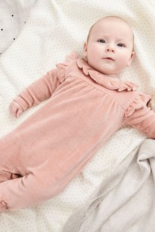 Pink Frill Velour Sleepsuit (0mths-2yrs)