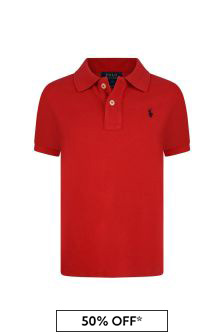 Boys Red Cotton Polo Top