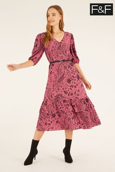 F&F Pink Paisley Midi Dress