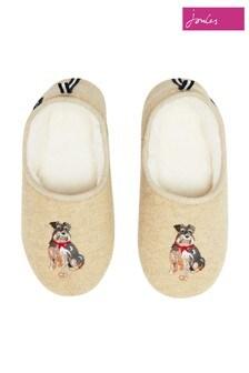 Joules White Felt Mule Applique Slippers