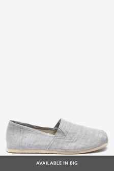 Light Grey Canvas A-Line Slip-Ons