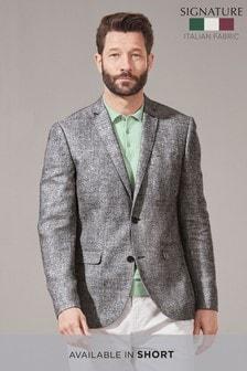 Light Grey Signature Textured Linen Blend Slim Fit Nova Fides Blazer