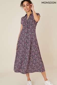 Monsoon Pink Floral Shirt Dress with Organic Cotton