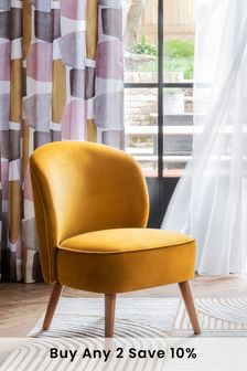 Opulent Velvet Ochre Zola Accent Chair With Mid Legs