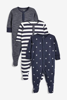 Navy/White 3 Pack Stripe And Star Print Sleepsuits (0mths-2yrs)
