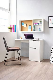 White Compton Desk and Shelving Set