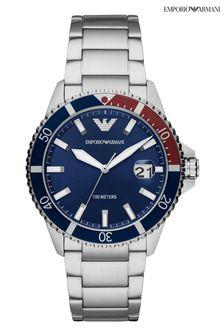 Emporio Armani Silver Diver Watch