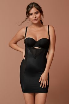 Black Firm Control Lace Wear Your Own Bra Slip