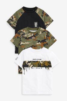 Multi 3 Pack Camo Colourblock T-Shirts (3-16yrs)