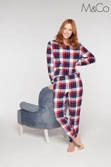 M&Co Red Fleece Check Pyjama Set