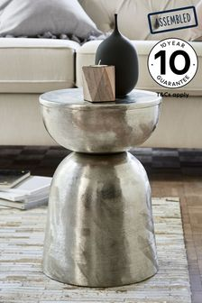 Brushed Metal Finish Loxley Drum Side Table