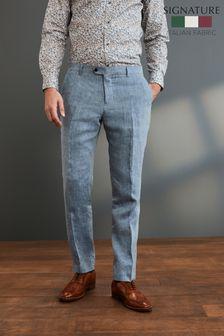 Blue Slim Fit Signature Linen Suit: Trousers