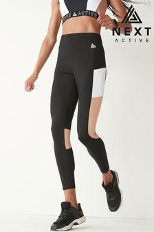 Black/Pink High Waisted Full Length Colourblock Panel Pocket Leggings