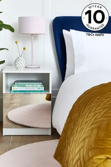 Mirrored Flynn 1 Drawer Bedside Table