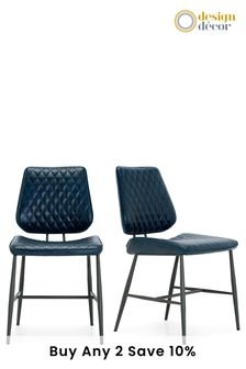 Faux Leather Blue Set Of 2 Carson Dining Chairs By Design Décor