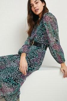 Floral Printed Long Sleeve Belted Dress