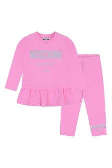 Baby Girls Pink Cotton Leggings Set