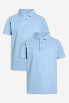 Blue 2 Pack Cotton Poloshirts (3-16yrs)