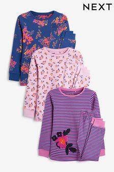 Navy/Pink Floral 3 Pack Pyjamas (9mths-12yrs)