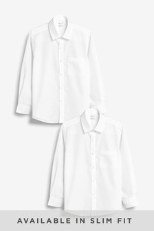 White 2 Pack Long Sleeve Shirts (3-17yrs)