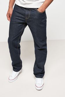 Dark Wash Straight Fit Cotton Rigid Jeans