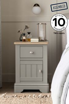 Grey Hampton Storage 1 Drawer Bedside Table