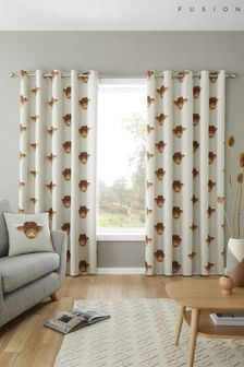 Highland Cow Eyelet Curtains by Fusion