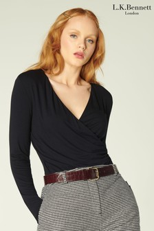 L.K.Bennett Black Eames Double Front Wrap Jersey Top