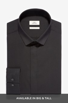 Black Slim Fit Single Cuff Textured Concealed Placket Shirt