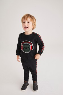 Black Bouclé Camo Monkey Crew And Jogger Set (3mths-7yrs)