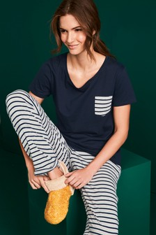 Navy Stripe Cotton Blend Pyjamas