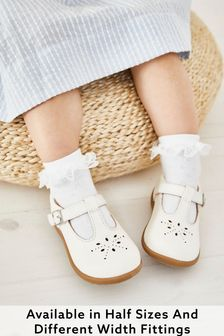 White Leather Standard Fit (F) First Walker T-Bar Shoes
