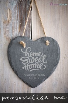 Personalised Home Sweet Home Real Slate Heart by Loveabode