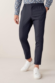 Navy Drawstring Stretch Formal Trousers