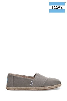 TOMS Drizzle Grey Washed Canvas Espadrille Pump
