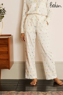 Boden White Janie Pyjama Bottoms