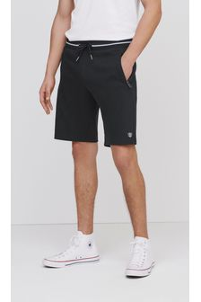 Black Tipped Straight Fit Zip Pocket Jersey Shorts